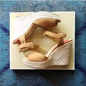Michael Kors Suede Espadrille Wedge Sandals NWT